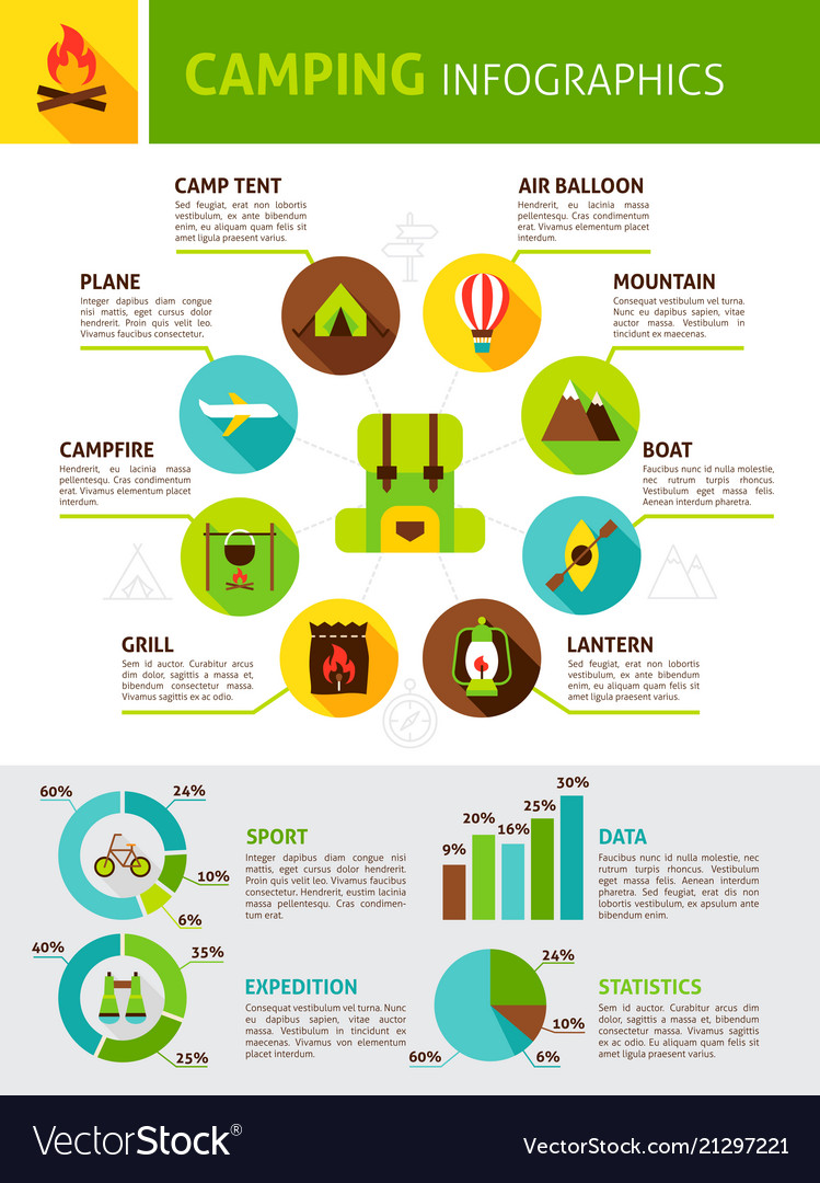 Summer camping flat infographic