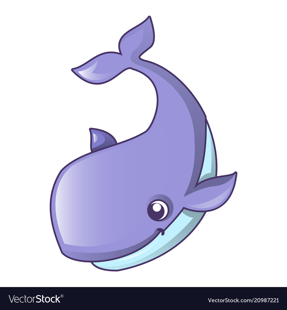 Swimming whale icon cartoon style
