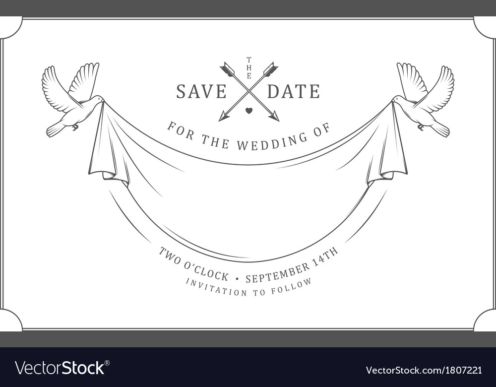 vintage wedding invitation stamp royalty free vector image