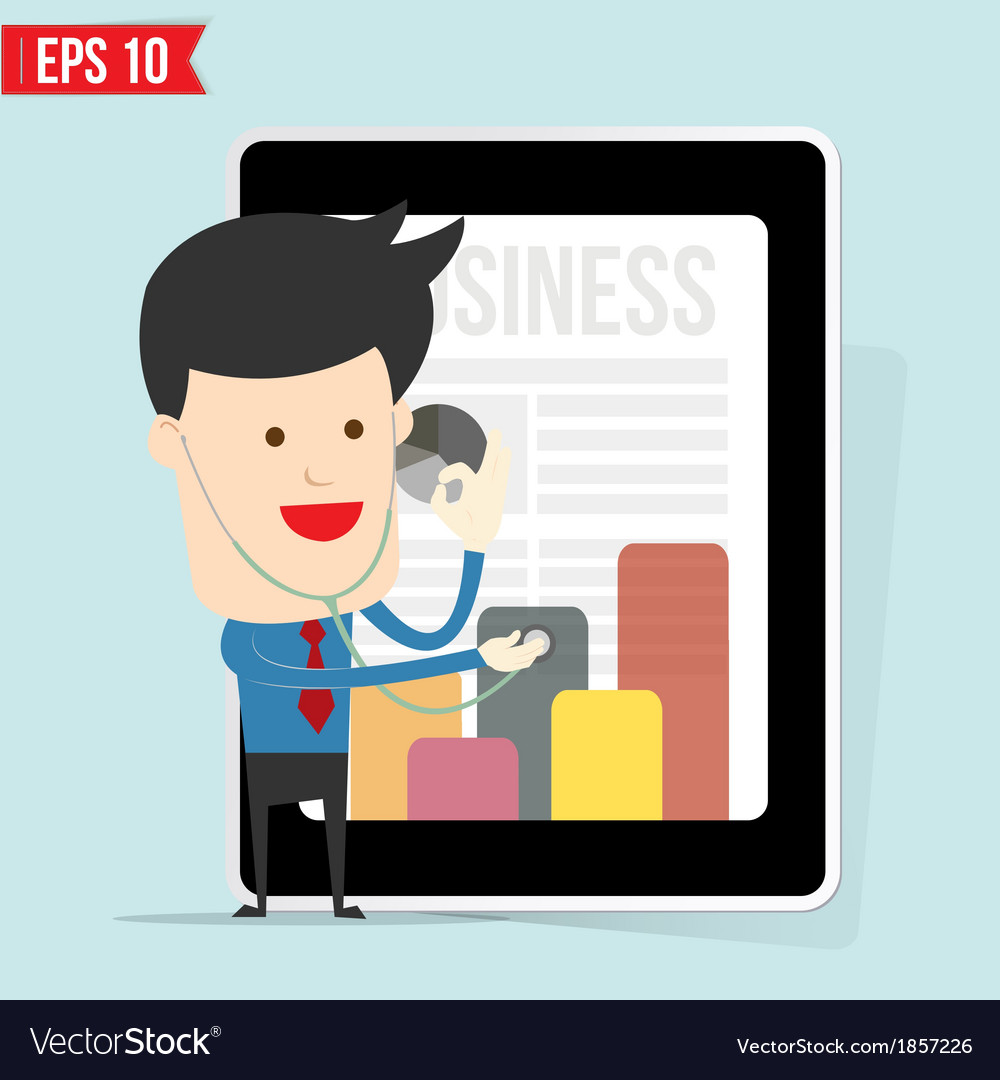 Businessman use stethoscope checking up business vector image
