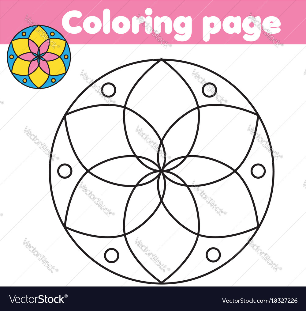 Coloring Page With Abstract Flower Shape Drawing
