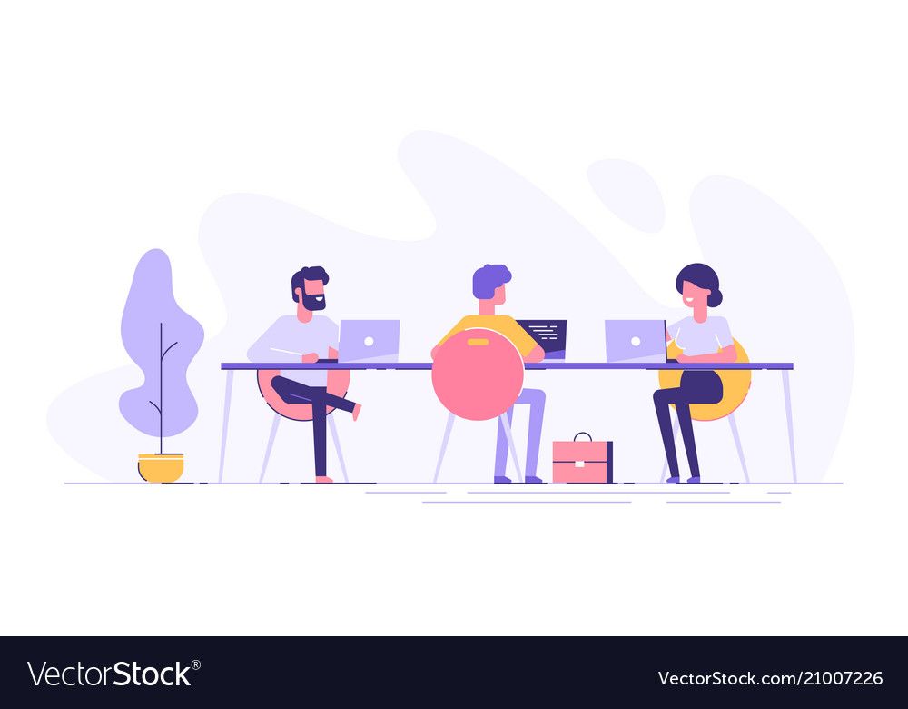 Coworking space with creative people at the table