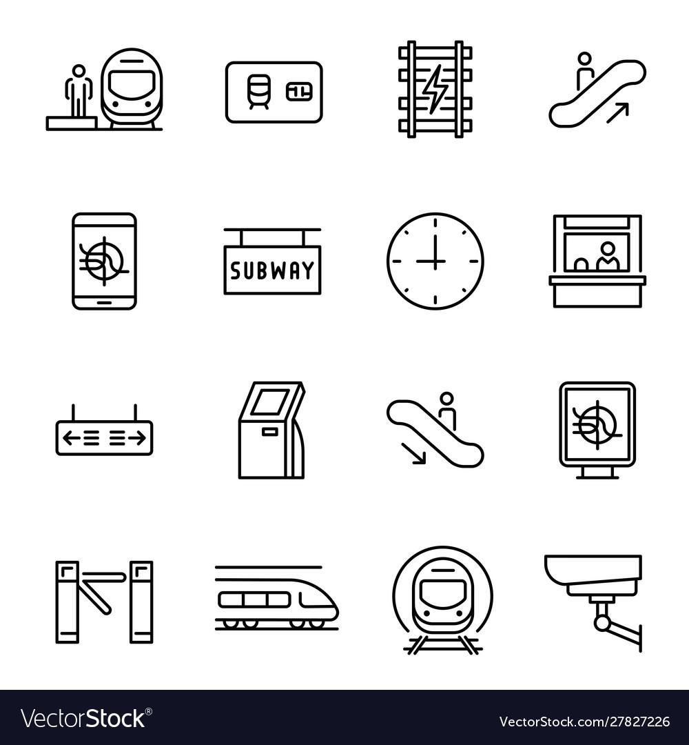 Metro underground subway linear icons set