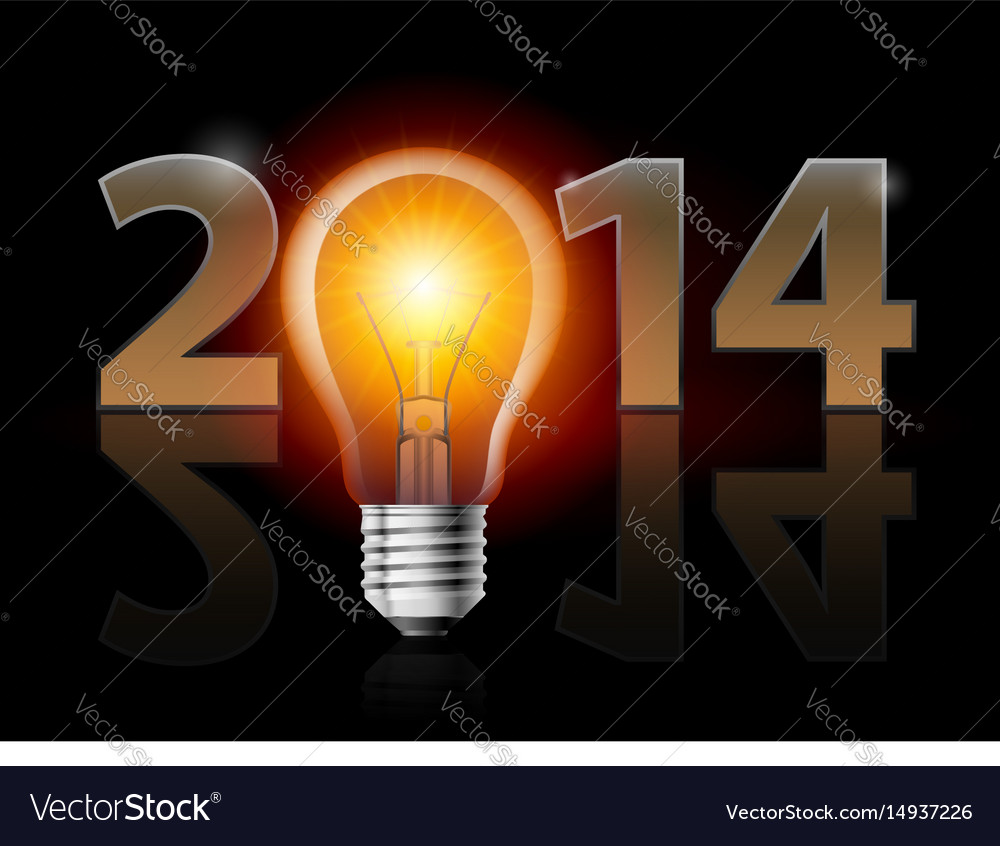 New year 2014 metal numerals with electric bulb vector image