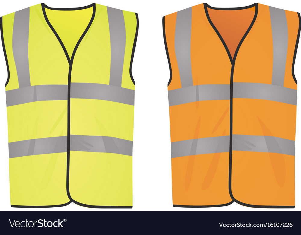 62612b89f3 Safety yellow and orange vests Royalty Free Vector Image