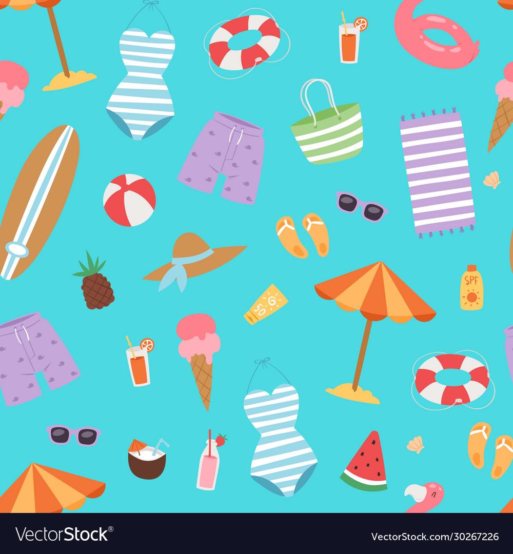 Summer beach seamless pattern with umbrella cocos