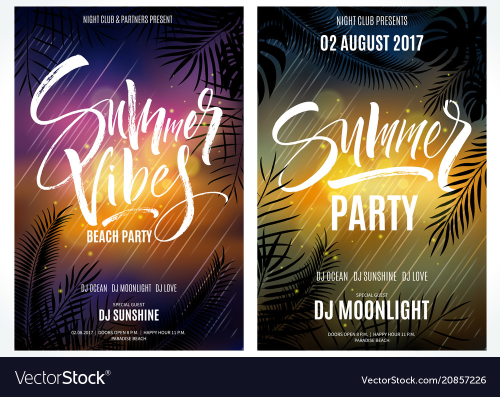 Summer vibes beach party posters vector image