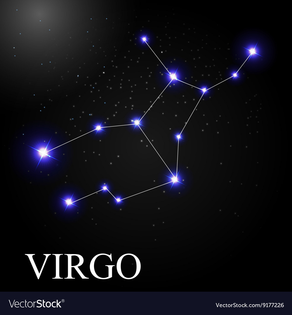 Virgo Zodiac Sign With Beautiful Bright Stars On Vector Image
