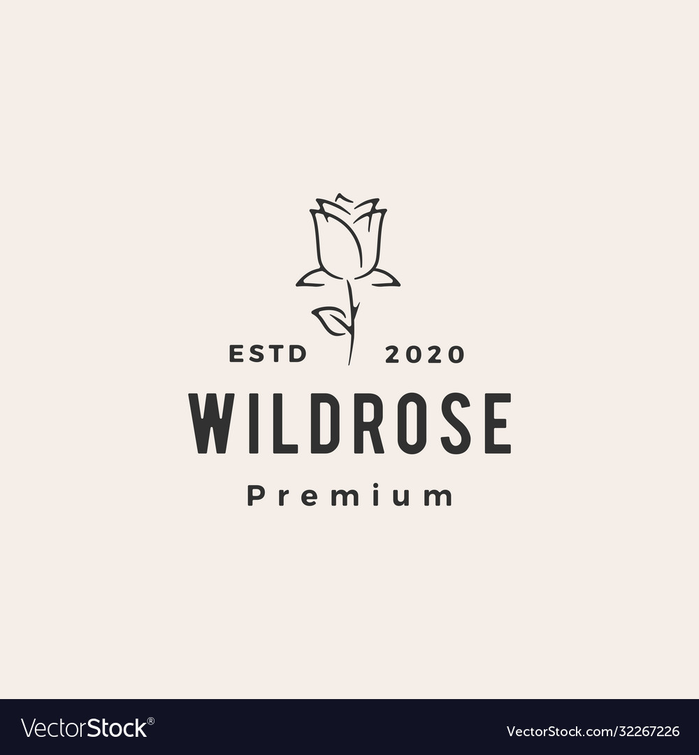 Wild rose flower hipster vintage logo icon