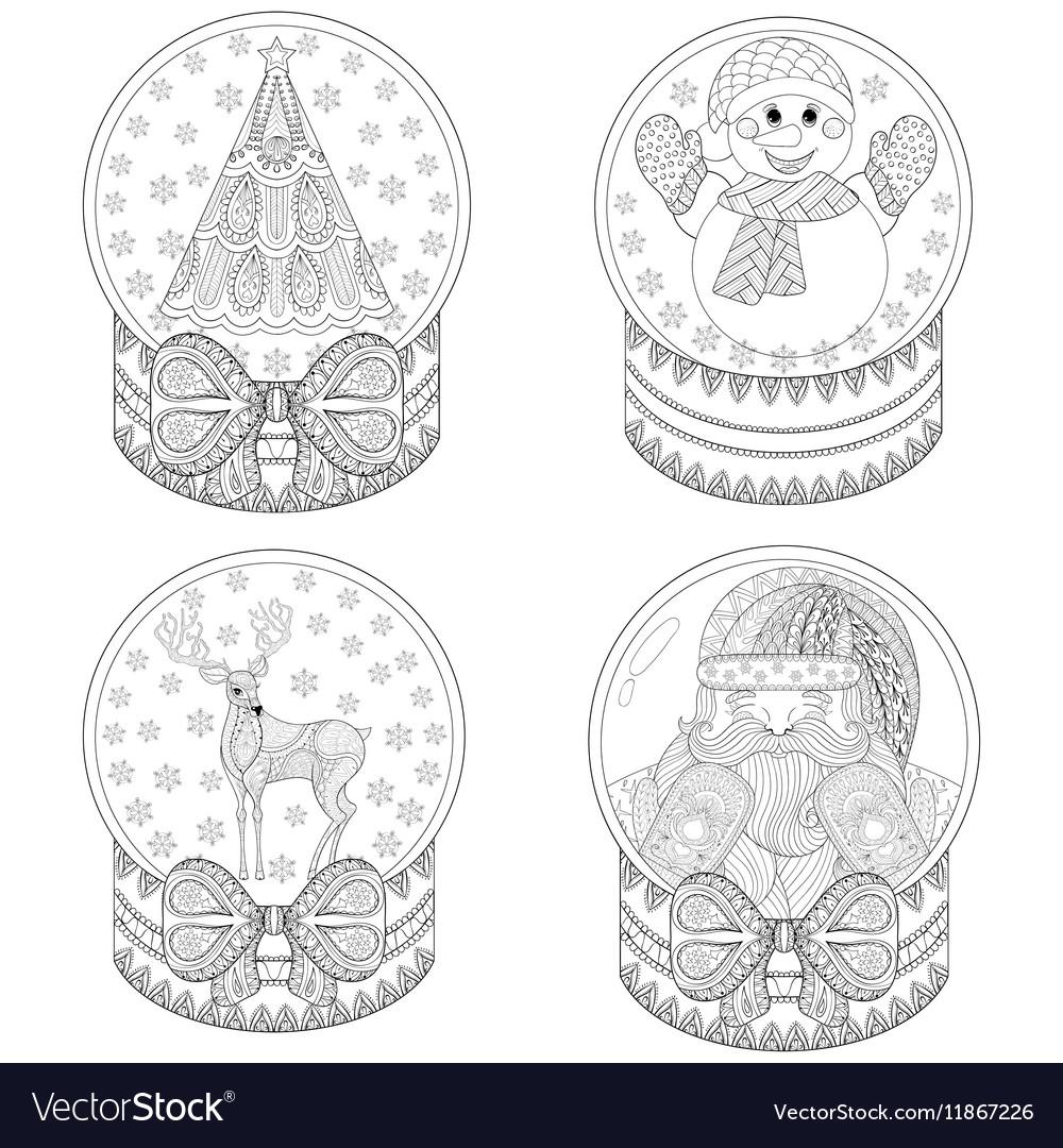 Zentangle snow globes with Christmas tree Santa
