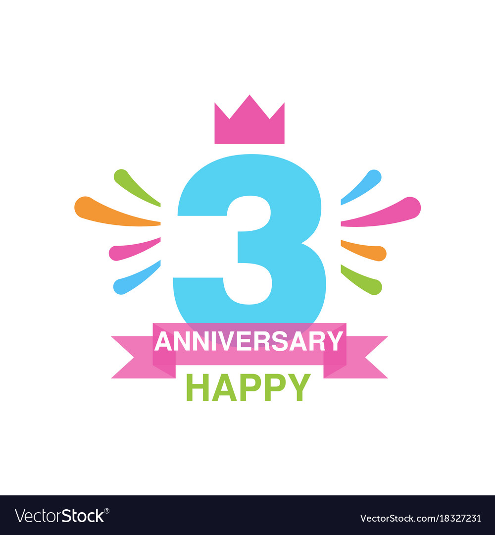3rd anniversary colored logo design happy holiday