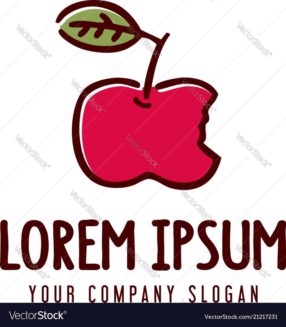 Apple fruit logo hand drawn design concept