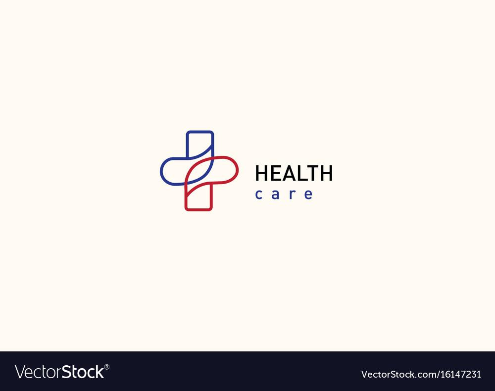 Bright logo on medicine and health cross