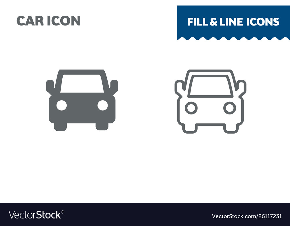 Car icon fill and line flat design ui