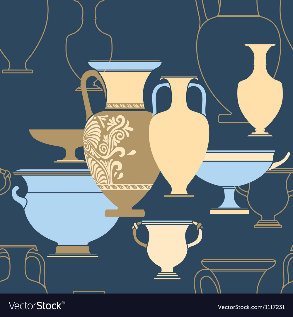 Ceramic Ethnic national Greek style seamless vector image
