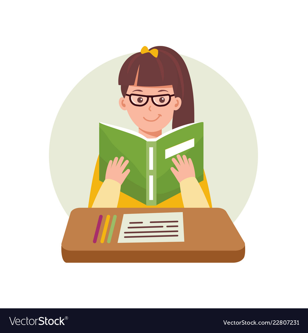 Cute woman reading a book2 educational concept