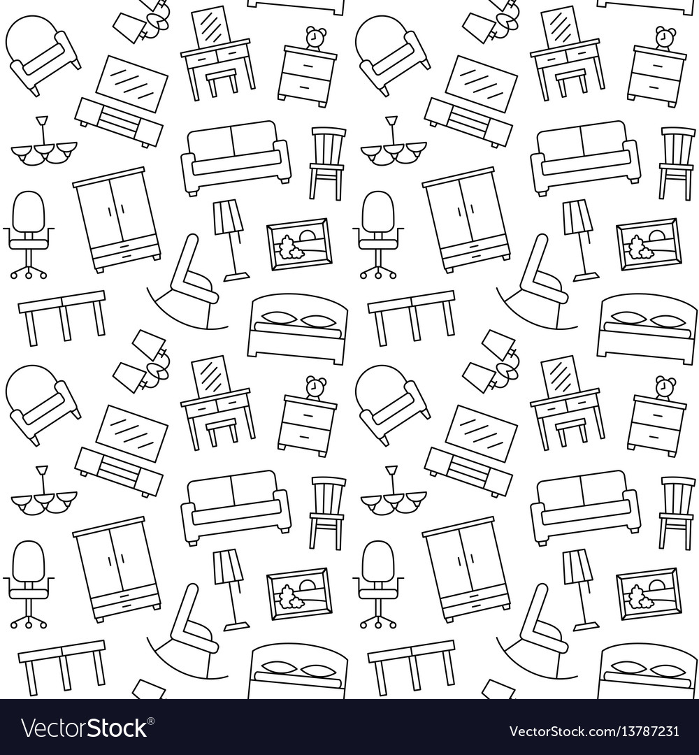 Furniture Seamless Pattern Background Royalty Free Vector