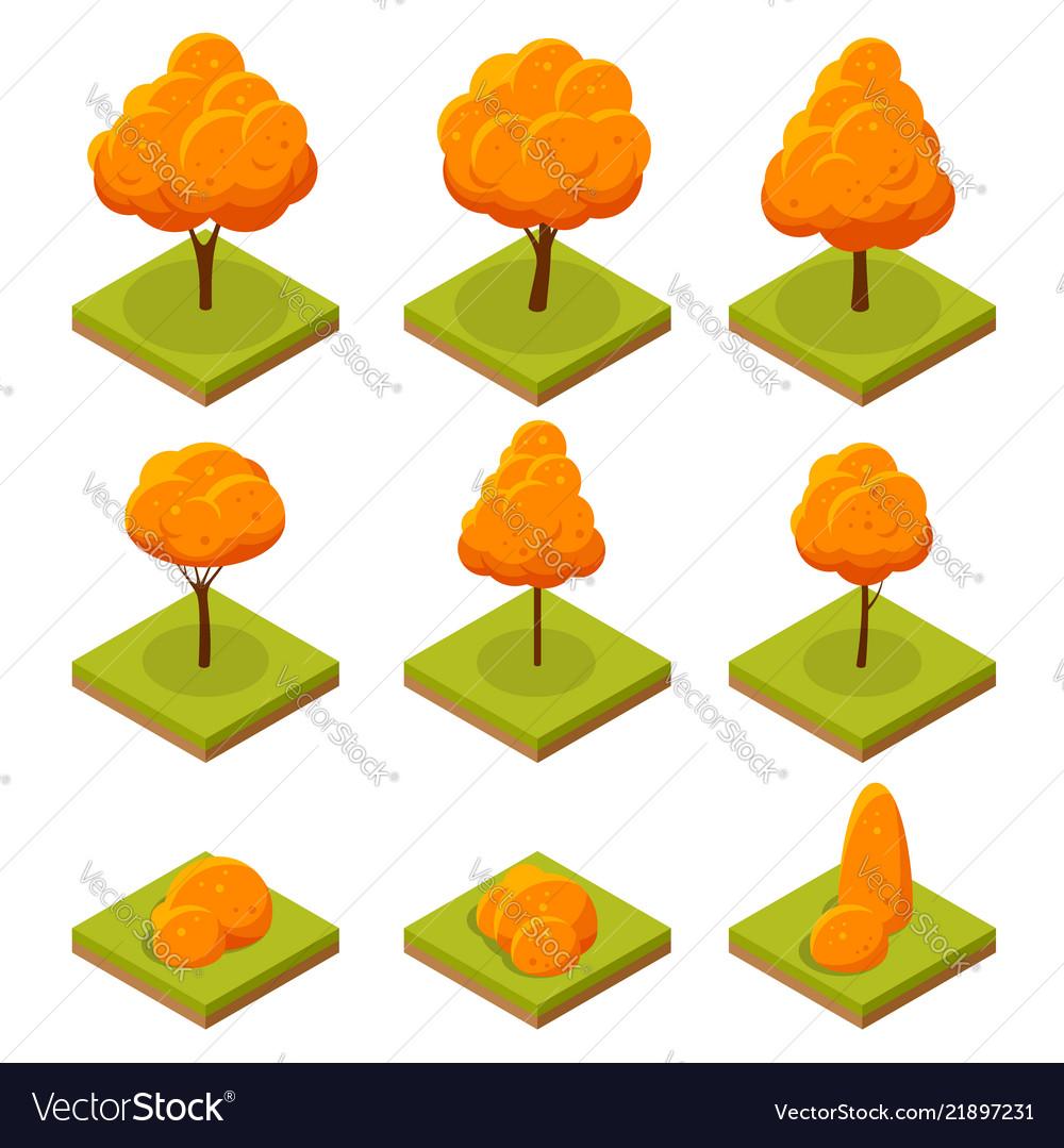 Isometric colorful autumn trees set yellow orange