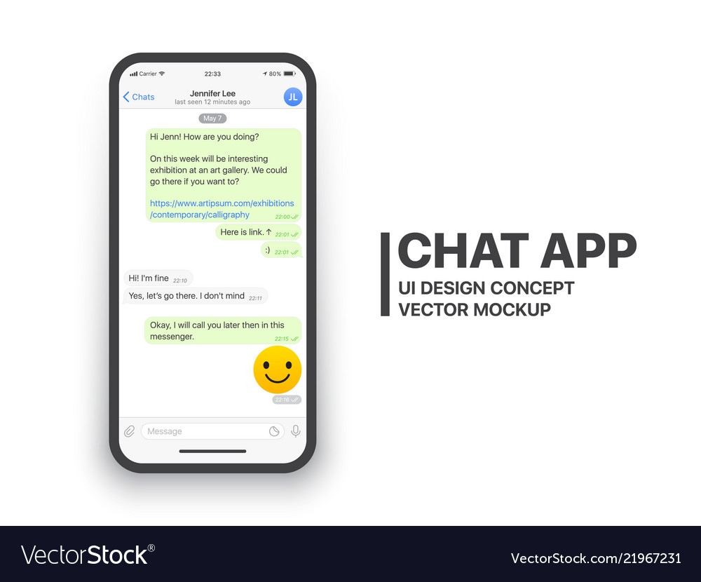 Mobile chat app mockup Royalty Free Vector Image