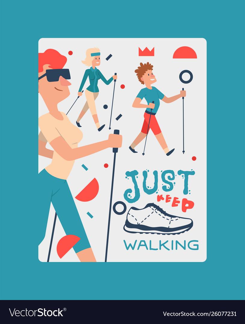 Nordic walking people landing page leisure sport