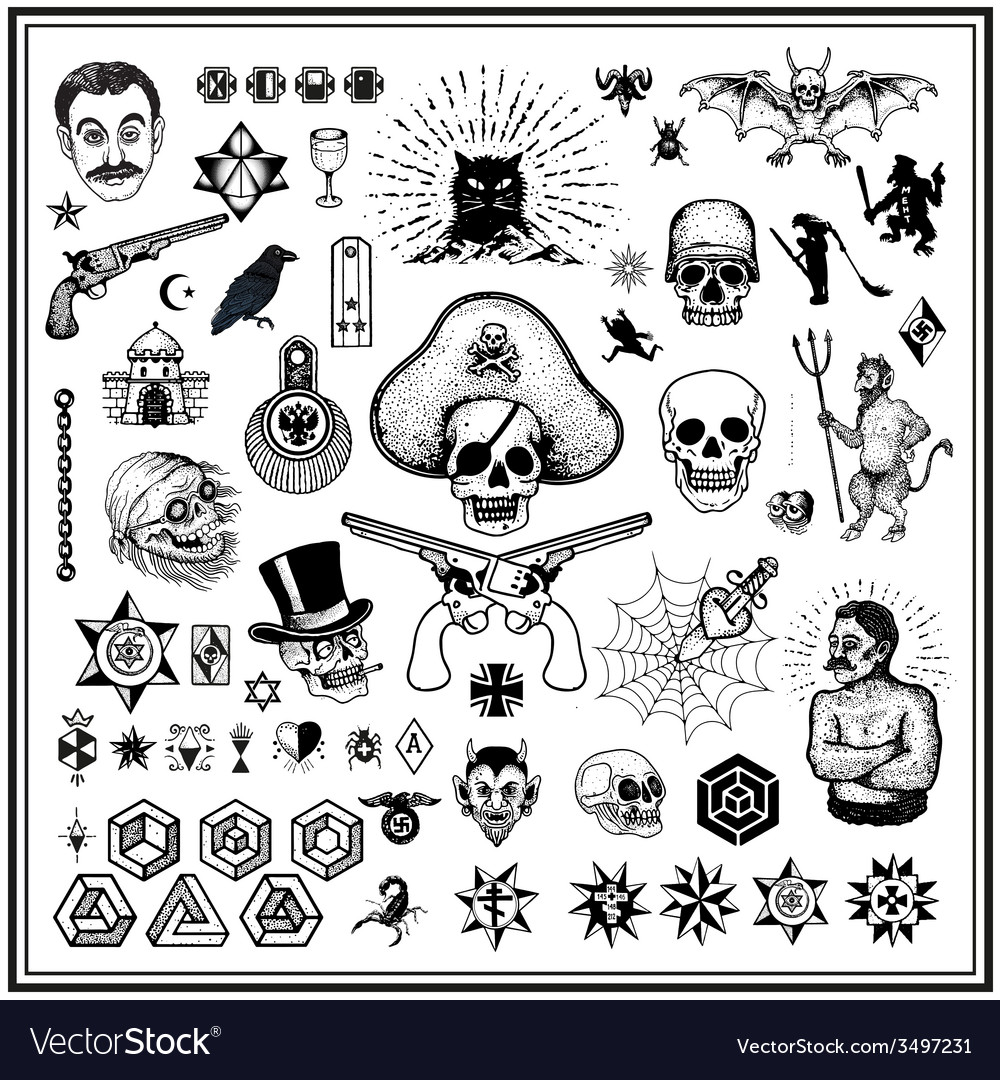 Russian criminal tatoos vector image