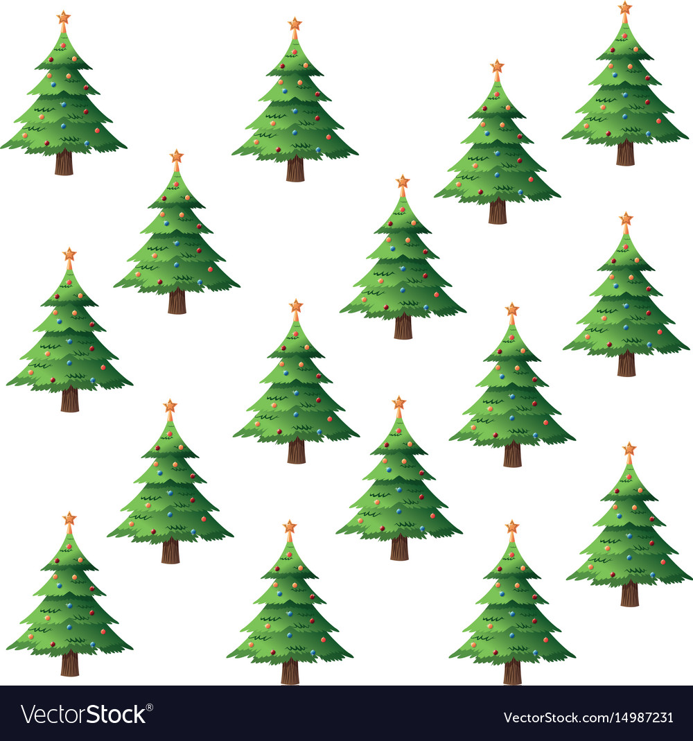 Seamless pattern christmas tree pine balls and vector image