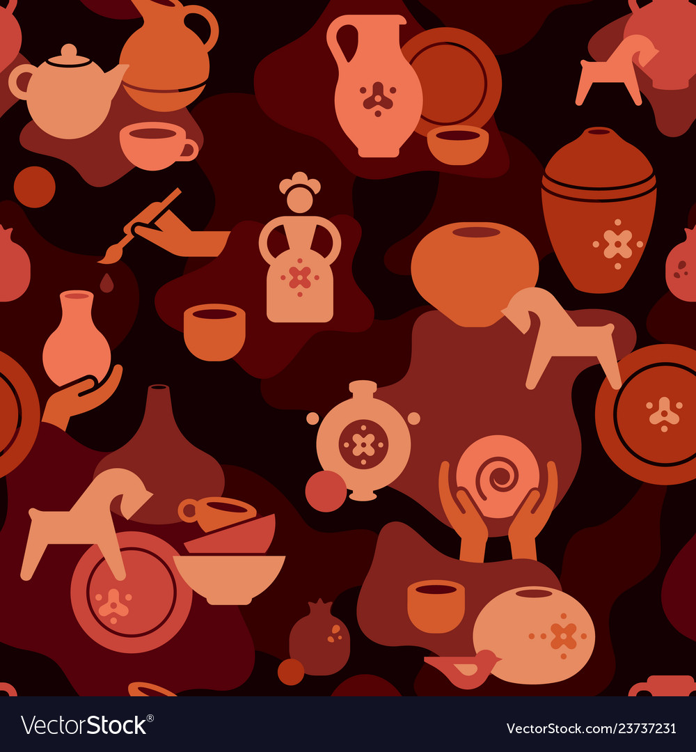 Seamless pottery pattern with vases and others