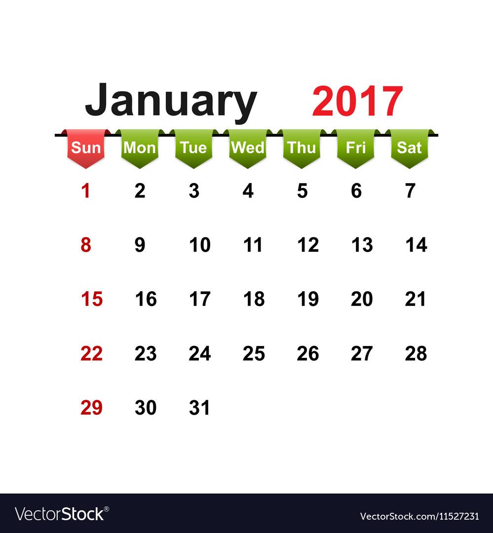 Simple calendar 2017 year january month