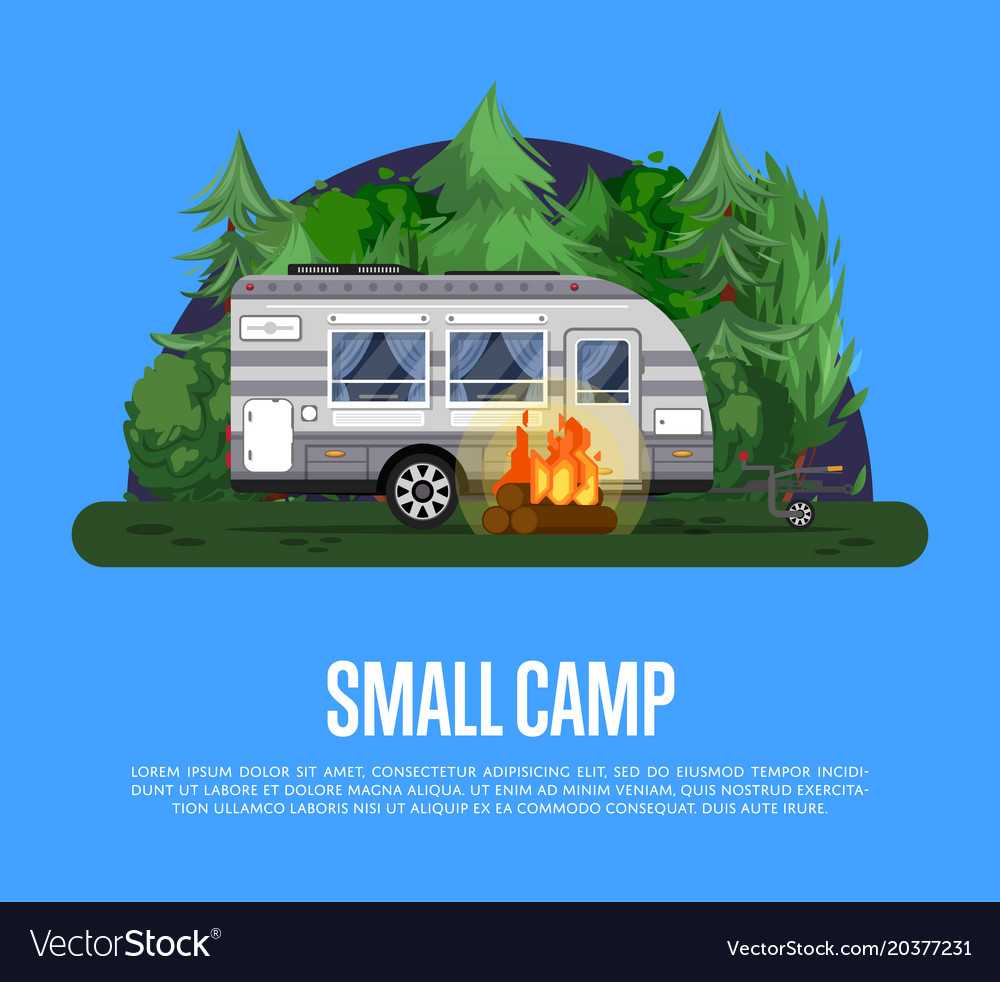 Small camp poster with travel trailer vector image