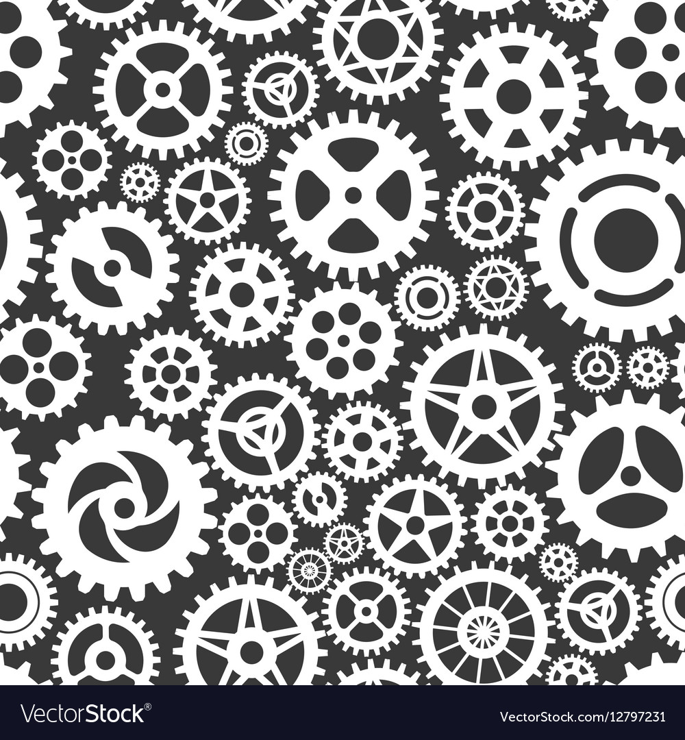White gears on grey seamless patern