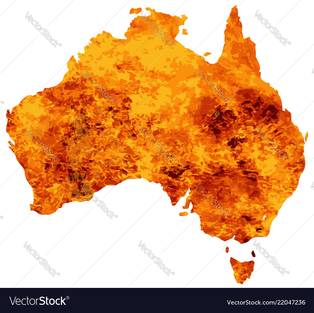 Australia map with flames background
