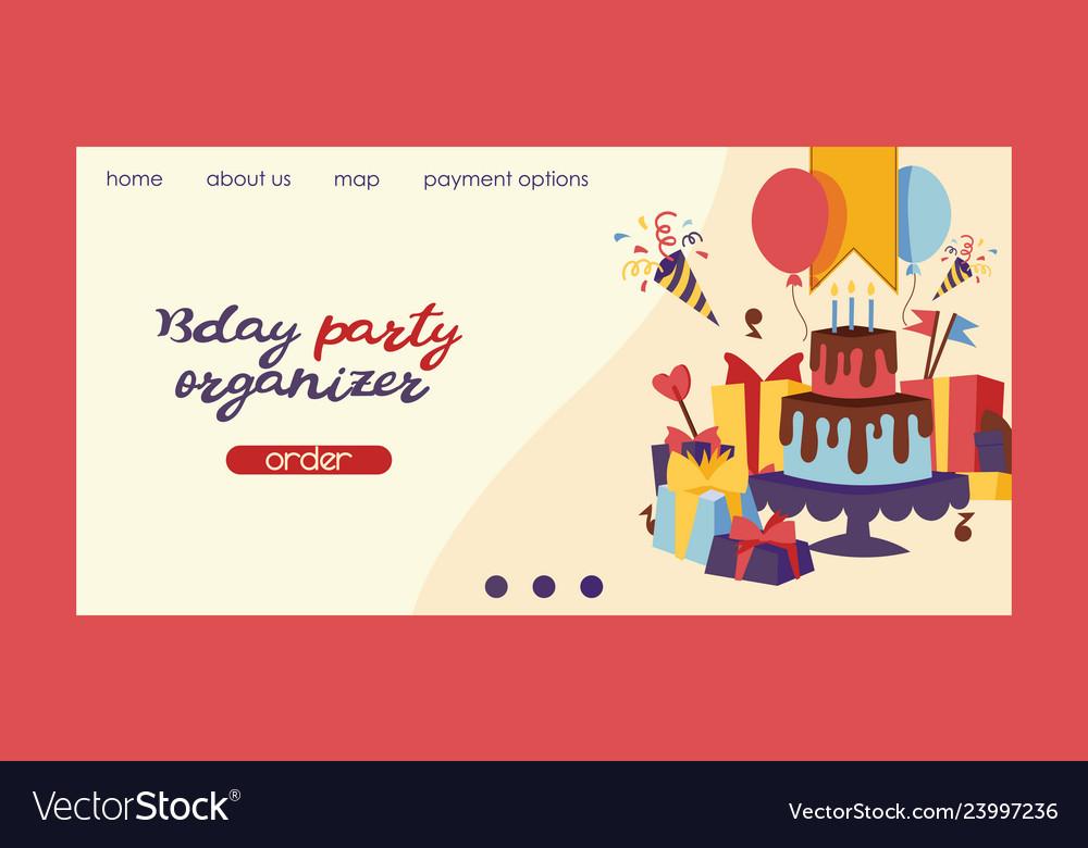 Birthday party anniversary landing page design