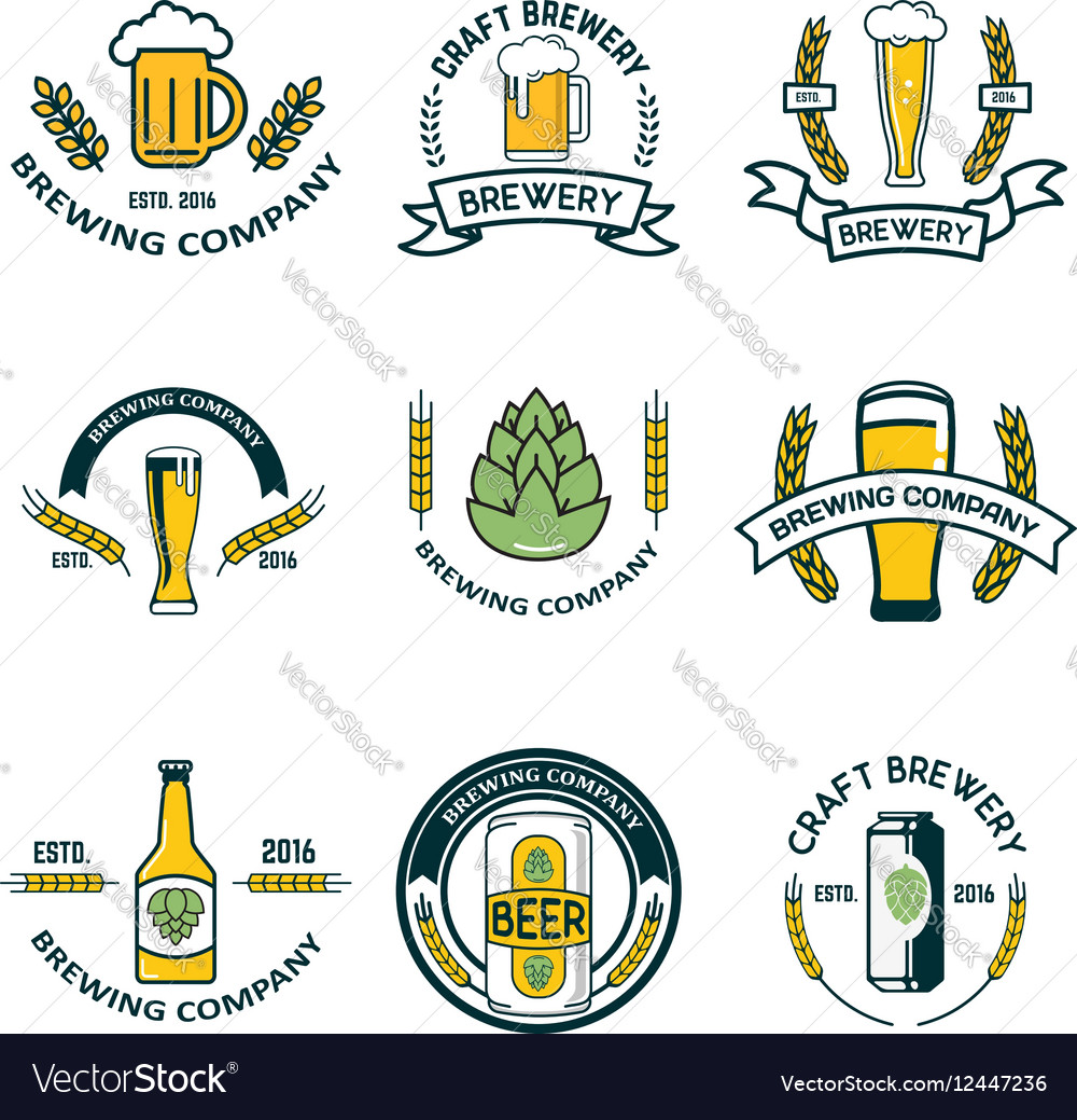 Brewery labels and design elements Beer mugs