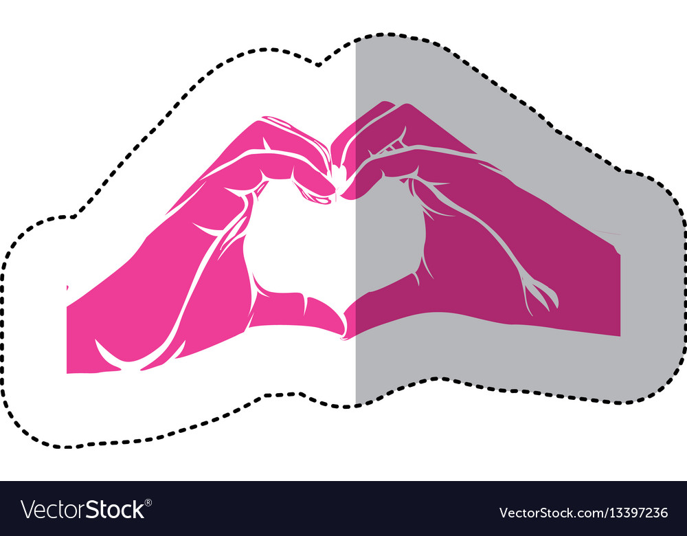 Fuchsia hand with heart icon