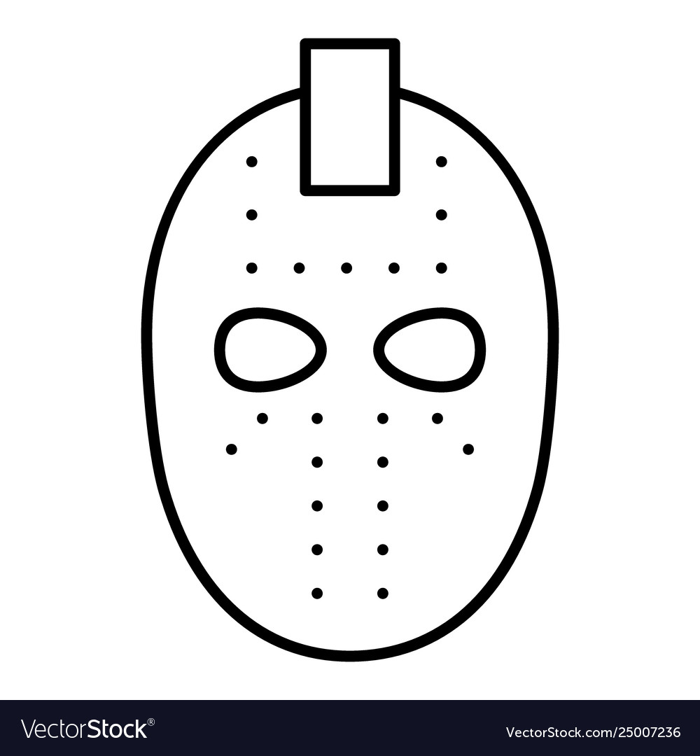 Hockey Mask Thin Line Icon Goalie Mask Royalty Free Vector
