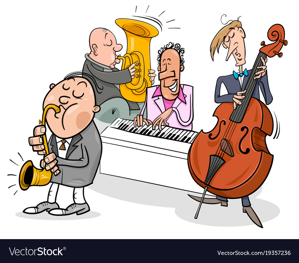 Musicians characters playing jazz music vector image