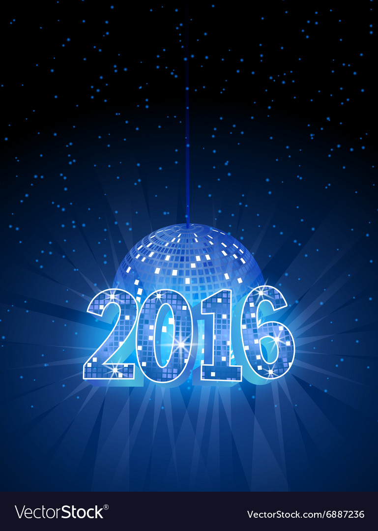 Number 2016 with disco blue ball
