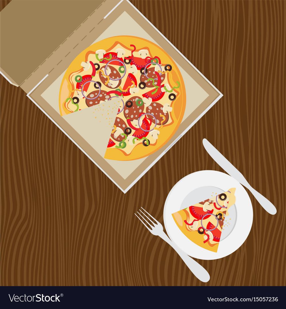 Open pizza box flat style design vector image