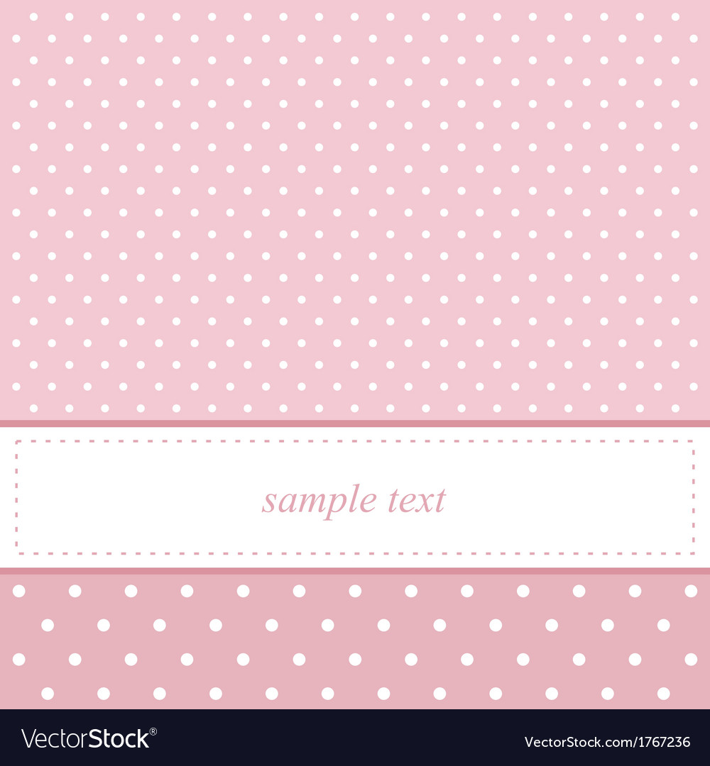 Pink and white polka dots card invitation vector image