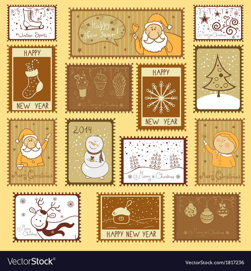 Postal stamps with Christmas