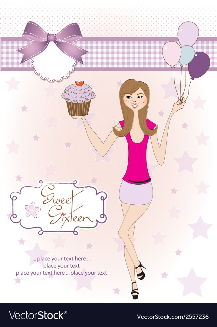 Sweet Sixteen Birthday card with young girl vector image