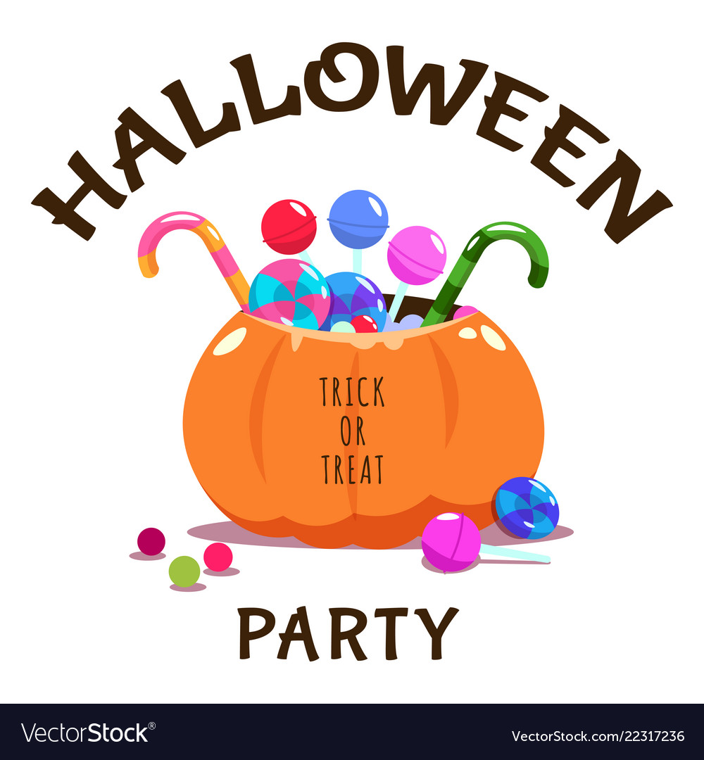 Trick or treat halloween banner with pumpkin