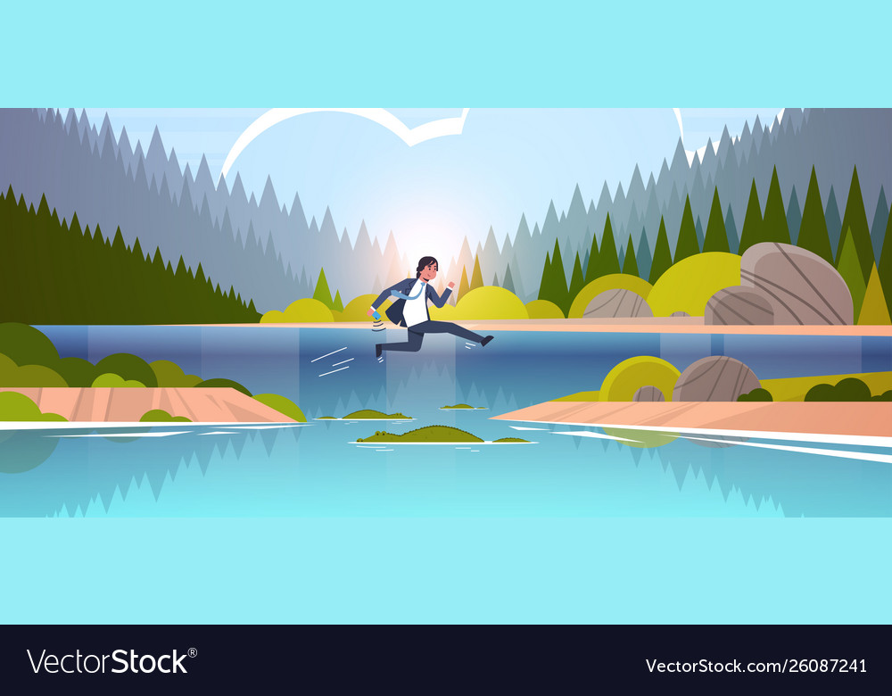 brave businesman jumping over river royalty free vector vectorstock