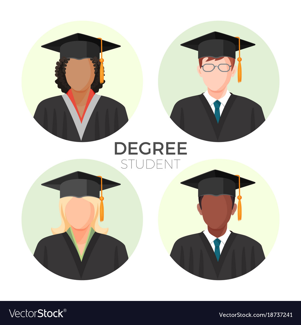 Degree student faceless avatars males and female