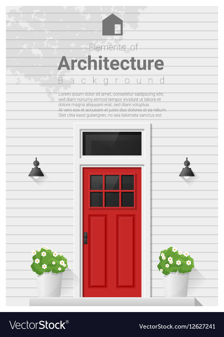 Elements of architecture front door background 4 vector image