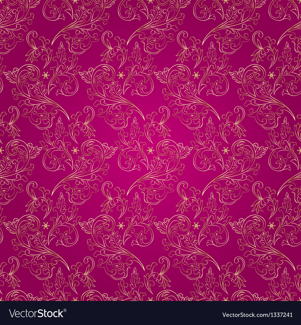 Floral Vintage Seamless Pattern On Pink Background