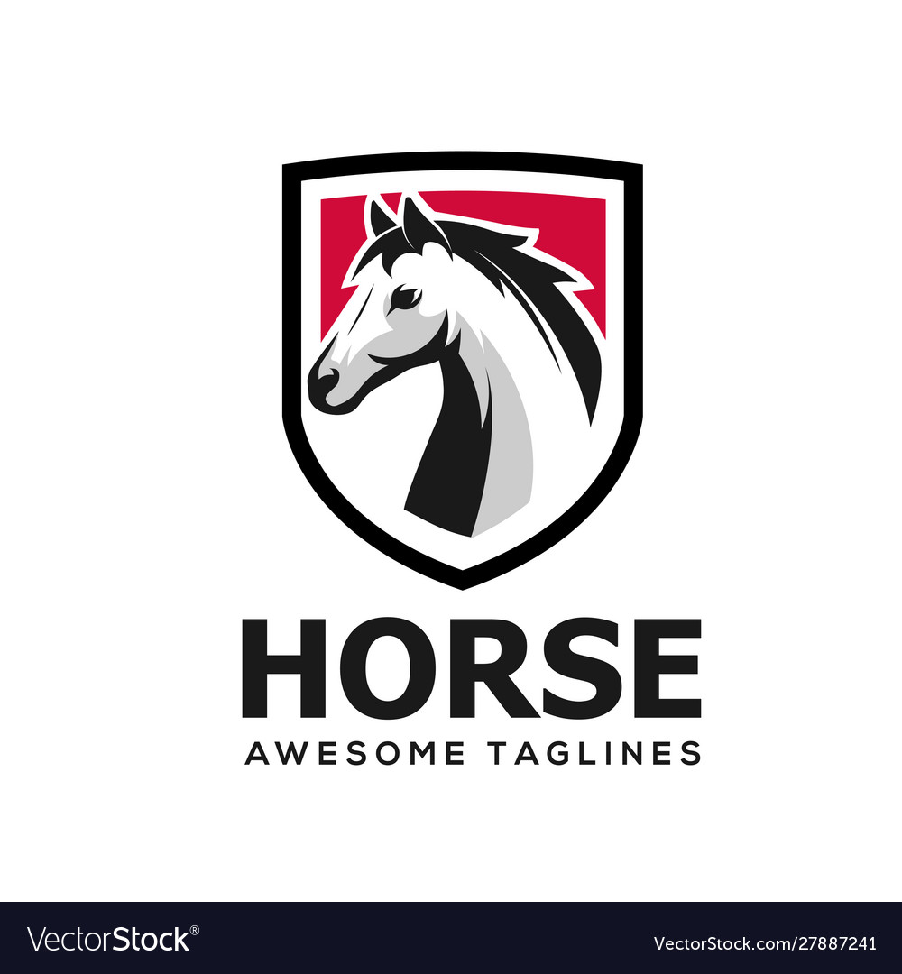 Horse head with shield simple logo