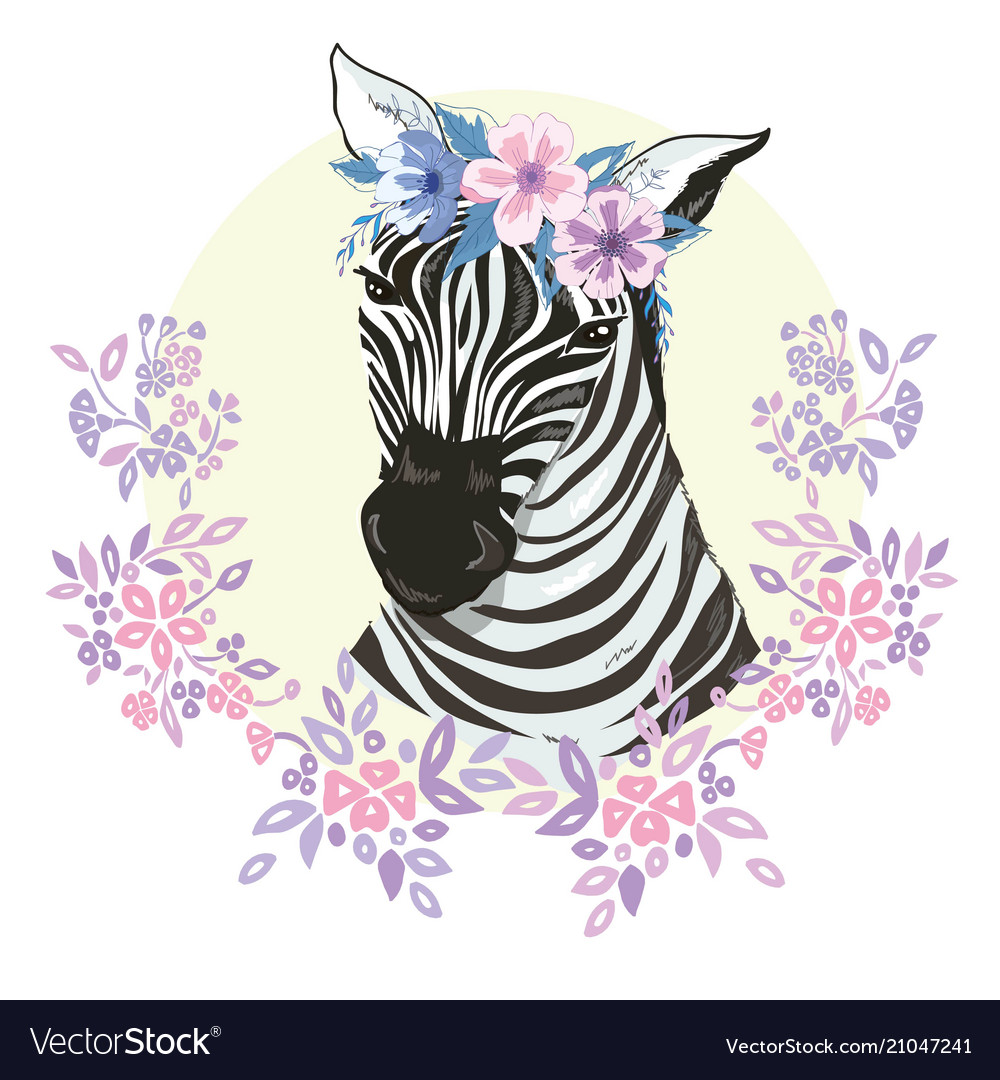 Logo with the head of a zebra flat zebra portrait