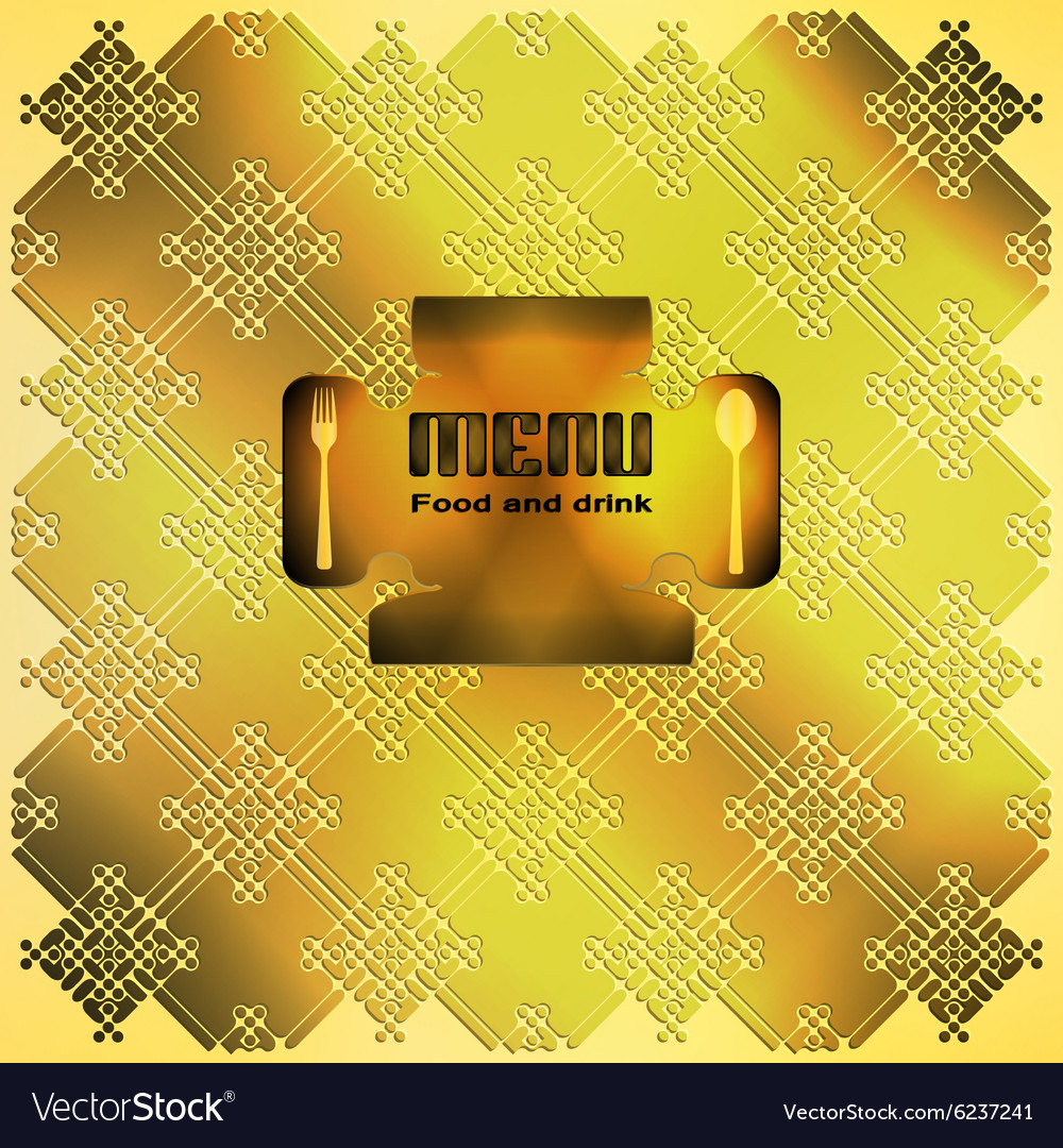 Menu golden ornament 2 vector image