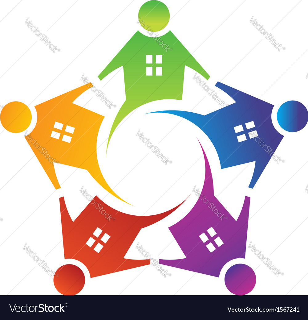 People House in Circle Logo vector image